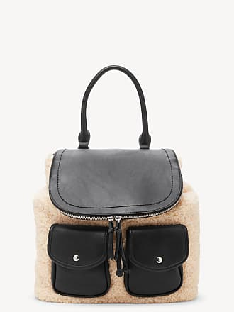 Sole Society Womens Drury Backpack Sherpa Mix Black Combo One Size Vegan Leather Sherpa From Sole Society