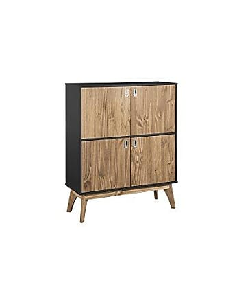 Manhattan Comfort CS96009 Jackie Tall Midcentury Rustic Standing Storage Cabinet Dark Grey/Natural Wood
