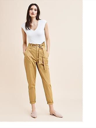 Dynamite Cindy Raw Edge Paperbag Pant Mustard Gold