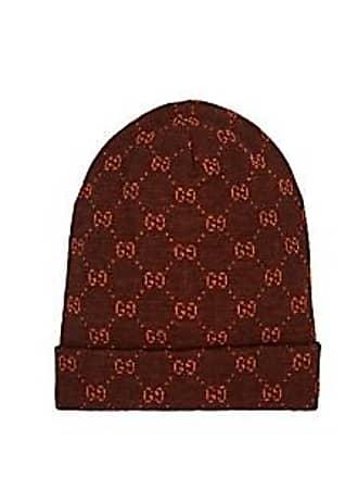 29eeb69e86e Gucci Mens GG Logo Alpaca-Wool Beanie - Brown Size M