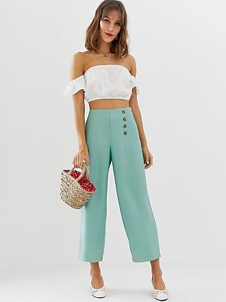 Vero Moda button detail wideleg pants - Green