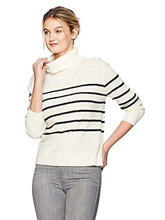 cupcakes and cashmere Womens Renny Striped Turtle Neck Sweater, Ivory, Medium
