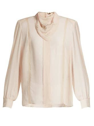 58349845a13055 Fendi Logo Embroidered Voile Blouse - Womens - Beige