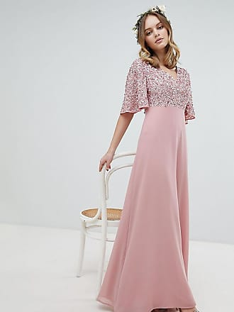 Maya Sequin Top Maxi Bridesmaid Dress With Flutter Sleeve Detail - Pink