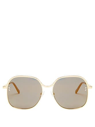 e0fceede1d Stella McCartney Stella Mccartney - Oversized Square Frame Chain Sunglasses  - Womens - Gold