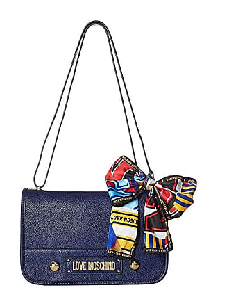 Love Moschino Shoulder Bag with Scarf (Blue) Cross Body Handbags e16144200a