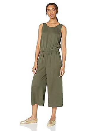 Daily Ritual Womens Tencel Sleeveless V-Back Jumpsuit, Dark Olive, 6