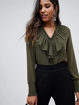 Y.A.S Bailey ruffle front blouse - Green