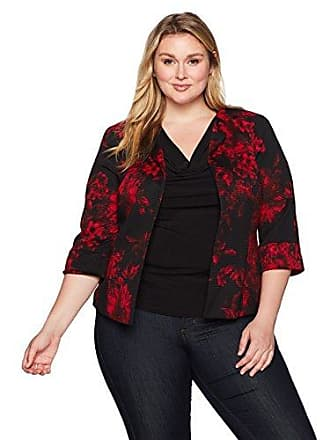 Kasper Womens Plus Size Printed Rounded Neck Flyaway Jacket, fire red/Multi, 16W