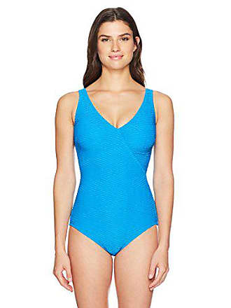 d50c9135b7faa Gottex Womens Textured Surplice One Piece Swimsuit, Essence Azure-Extra  Coverage, 14