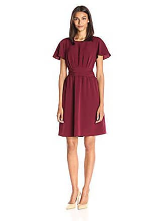 Lark & Ro Womens Flutter Sleeve Dress with Ruched Waist, Burgundy, X-Large