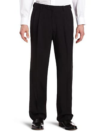 Haggar Mens Repreve Stria Gab Pleat Front Dress Pant,Black,42x30