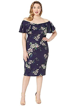 Unique Vintage Plus Size Knit Draped Sophia Wiggle Dress (Navy/Floral) Womens Dress