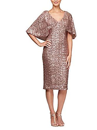 Alex Evenings Womens Micro-Pleated Column Dress with Beaded Neckline, Rose Gold, 14