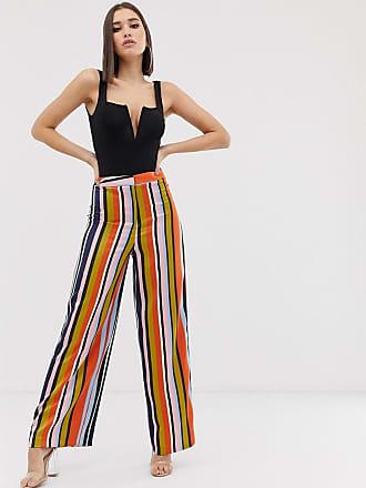 41c0e3775caf Asos Pantaloni in raso con fondo ampio e righe colorate in coordinato -  Multicolore
