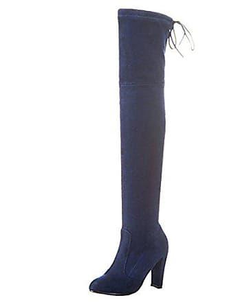30046f3ccecad7 Aiyoumei Damen Blockabsatz High Heels Overknee Stiefel mit Schnürung Stretch  Stiefel mit Ohne Reißverschluss