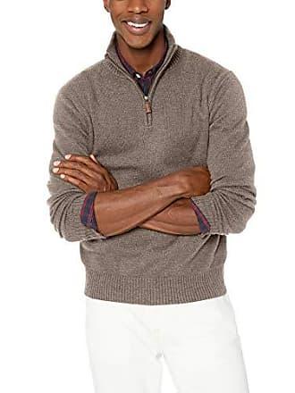 J.crew Mens Supersoft Wool Blend Half Zip Sweater, Heather Mink, L