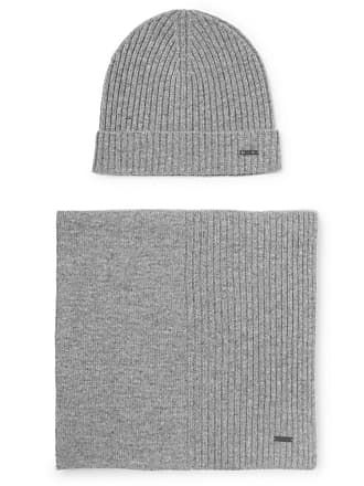 ab9ad5a44ab121 HUGO BOSS Ribbed Cashmere Beanie And Scarf Set - Gray
