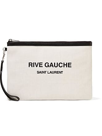 Saint Laurent Leather-trimmed Printed Canvas Pouch - Cream