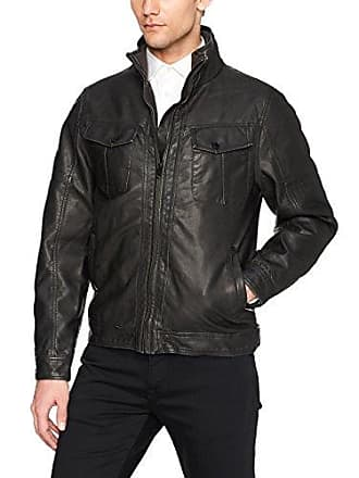 William Rast Mens Faux Leather Vintage Jean Jacket, Black, Medium
