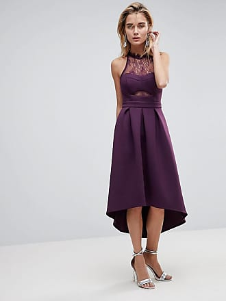 Asos ASOS Halter Lace Top Dip Back Prom Dress - Purple