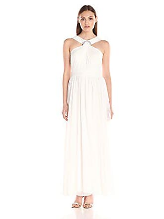 Alex Evenings Womens Long Halter Neck Dress with Ruched Wedding, Ivory, 8