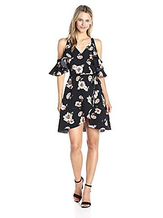 J.O.A. JOA Womens Cold Shoulder Floral Dress, Black/Multi, Medium