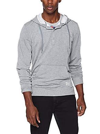 2(x)ist Mens Henley Button Up Hooded Sweatshirt Sweater, Heather Grey, Medium