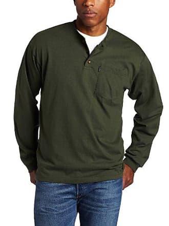 Key Apparel Mens Long Sleeve Heavyweight 3-Button Pocket Henley, Forest Green, 4X-Large-Regular