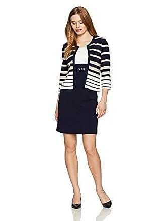 2d0fccda58c Sandra Darren Womens Petite 2 Pc 3 4 Sleeve Striped Sheath Jacket Dress  with Belt