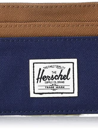 Herschel Herschel Mens Charlie Card Case Wallet, Peacoat/Saddle Brown, One Size