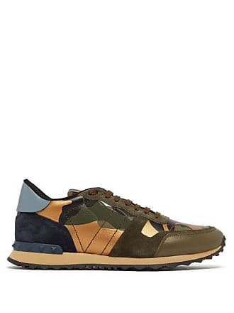 5acea78c8bb3e Valentino Camouflage Rockrunner Suede And Leather Trainers - Mens - Green