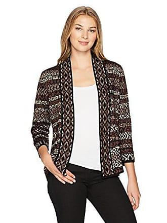 Ruby Rd. Womens Band-Collar Stripe Jacquard Sweater Cardigan, Cognac Multi, Large