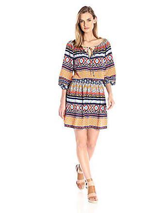 Betsey Johnson Womens Printed Poly CDC Peasant Dress, Multi 8