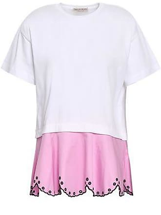 Emilio Pucci Emilio Pucci Woman Two-tone Broderie Anglaise-paneled Cotton-blend Jersey T-shirt White Size XS