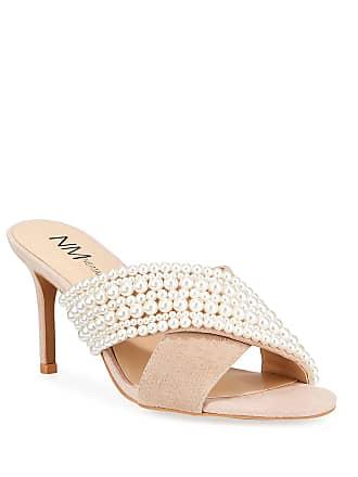 Neiman Marcus Pearly Beaded Mid-Heel Slide Sandals