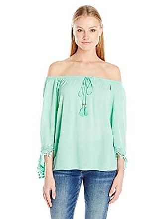 Allison Brittney Womens Woven Crinkle Top with Dcord Neck with Crochet Trim Edge, Green, L
