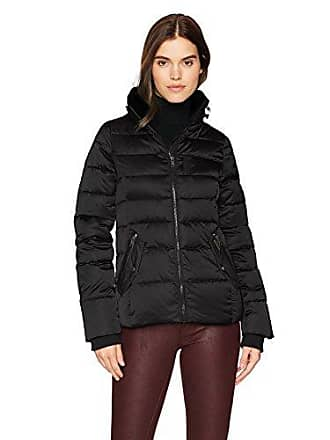 William Rast Womens High Stand Collar Quilted Jacket, Black, S
