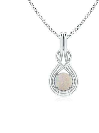 Angara Valentine Day Sale - Round Opal Solitaire Infinity Knot Pendant