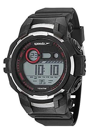 Speedo Relógio digital Speedo masculino a prova dágua Preto/prata