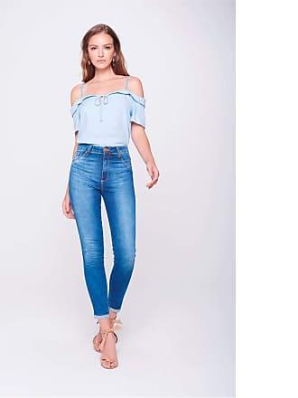 dc552fb9b5 Damyller Calça Cropped Jeans Cintura Altíssima Tam  38   Cor  BLUE