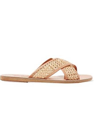 60656e694490 Ancient Greek Sandals Thais Woven Raffia And Leather Slides - Neutral