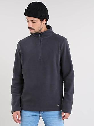 Basics Blusão Masculino Básico em Fleece com Meio Zíper Cinza Chumbo