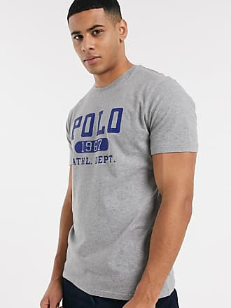 Polo Ralph Lauren T-shirt grigia con logo floccato-Grigio