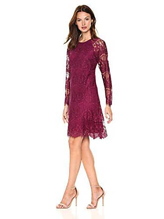 Adrianna Papell Womens Scalloped Lace Trapeze, Burgundy, 16