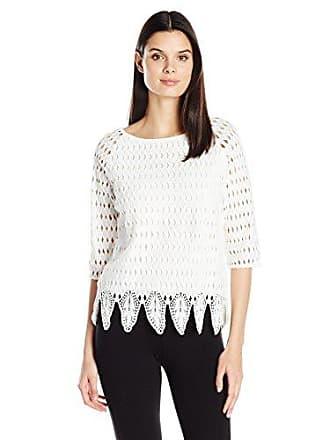 Joan Vass Womens Woven Lace Top, White XS