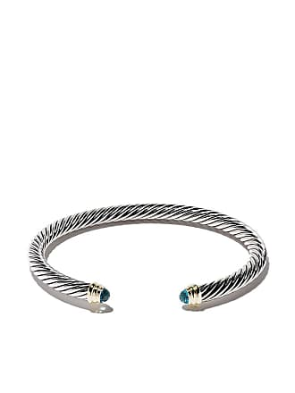 David Yurman Cable Classics sterling silver, blue topaz and 14kt yellow gold accented cuff bracelet - S4abt