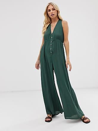 Vero Moda crinkle button front jumpsuit - Green
