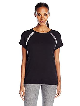 Andrew Marc Womens Short Sleeve Pullover with Scuba Insets, Black/Grey Fractured, Large