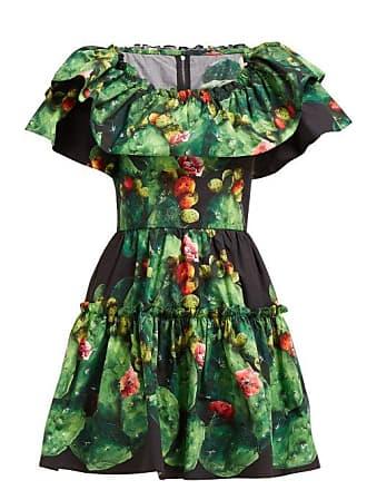 dfbb0b1b Dolce & Gabbana Cactus & Floral Print Cotton Poplin Mini Dress - Womens -  Green Multi
